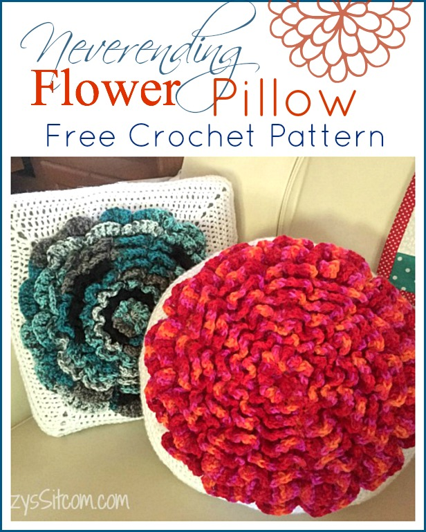 Beginner Crochet Pillow Patterns : Never-ending Flower Pillow Crochet Pattern